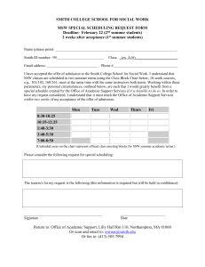 SMITH COLLEGE SCHOOL FOR SOCIAL WORK MSW SPECIAL SCHEDULING REQUEST FORM