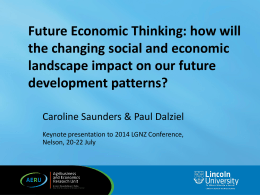 Future Economic Thinking: how will the changing social and economic development patterns?