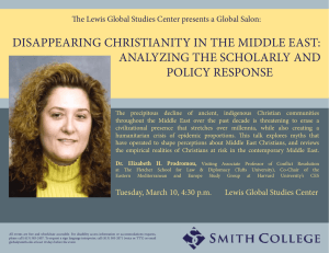 DiSAPPEARinG CHRiSTiAniTy in THE MiDDLE EAST: AnALyzinG THE SCHoLARLy AnD PoLiCy RESPonSE