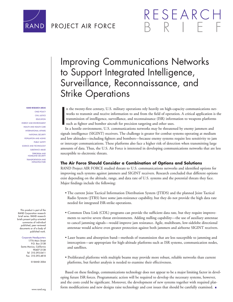 Improving Communications Networks to Support Integrated