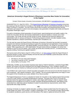 American University's Kogod School of Business Launches New Center for... in the Capital