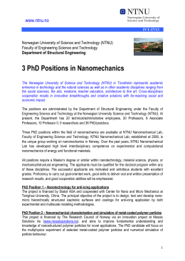 3 PhD Positions in Nanomechanics  www.ntnu.no