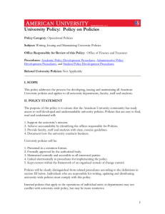 University Policy:  Policy on Policies