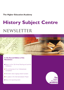 History Subject Centre Newsletter Welcome The Higher Education Academy