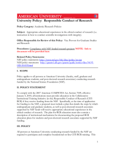 University Policy:  Responsible Conduct of Research