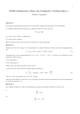 PX391 Nonlinearity, Chaos and Complexity: Problem Sheet 1 Sandra Chapman