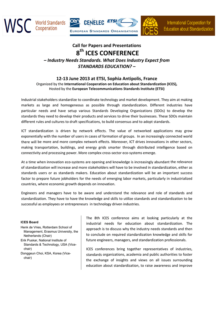 8 ICES CONFERENCE Call for Papers and Presentations