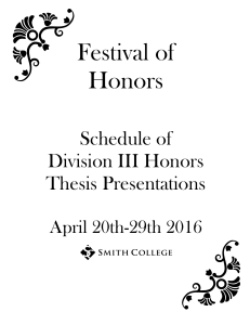Festival of Honors Schedule of Division III Honors