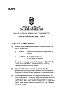 DRAFT  COLLEGE OF MEDICINE UNIVERSITY OF MALAWI