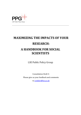 MAXIMIZING THE IMPACTS OF YOUR RESEARCH: A HANDBOOK FOR SOCIAL