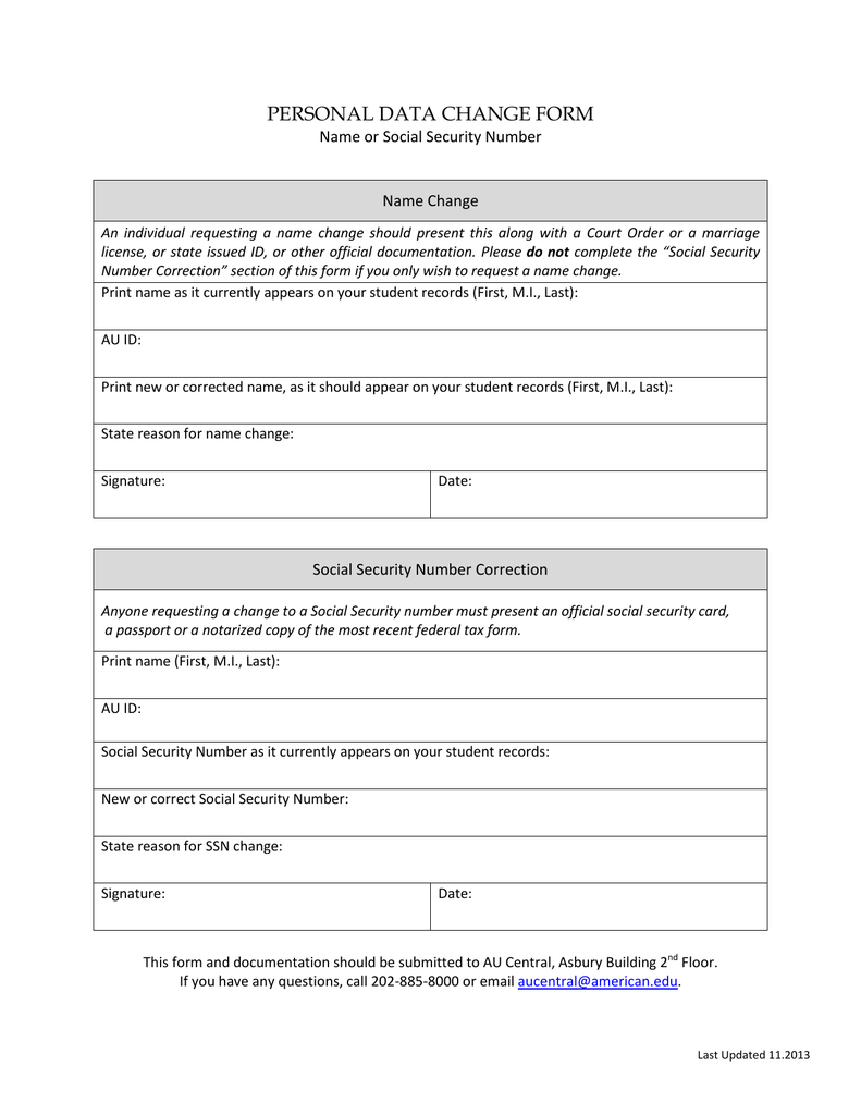 b3a56700a PERSONAL DATA CHANGE FORM Name or Social Security Number Name Change