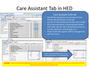 Care Assistant Tab in HED Care Assistant (CA) tab: