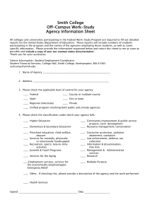 Smith College Off-Campus Work-Study Agency Information Sheet