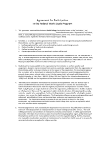 Agreement for Participation   in the Federal Work‐Study Program