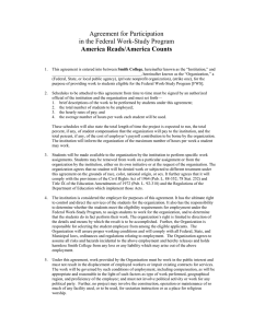 Agreement for Participation in the Federal Work-Study Program America Reads/America Counts