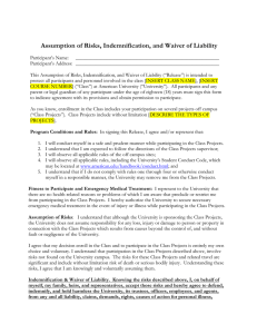 Assumption of Risks, Indemnification, and Waiver of Liability