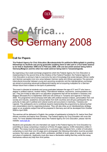 Go Africa… Go Germany 2008 Call for Papers