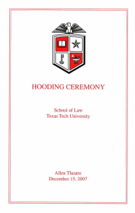 CEREMONY HOODING Law Tech