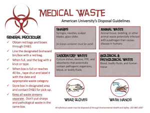 Medical Waste American University's Disposal Guidelines General Procedure Animal Waste