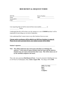BED REMOVAL REQUEST FORM