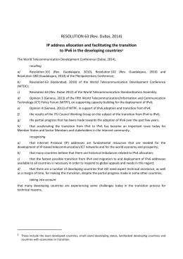 RESOLUTION 63 (Rev. Dubai, 2014) to IPv6 in the developing countries