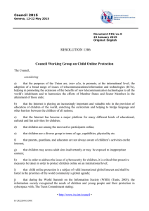 Council Working Group on Child Online Protection RESOLUTION 1306  Council 2015