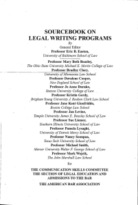 SOURCEBOOK ON LEGAL WRITING PROGRAMS General Editor B.