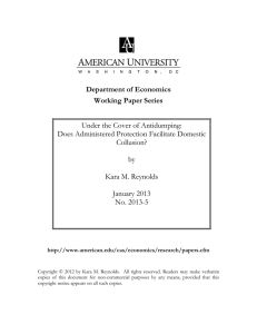Department of Economics Working Paper Series Under the Cover of Antidumping: