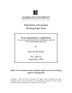 Department of Economics Working Paper Series  From Agreement to Application