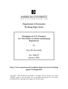 Department of Economics Working Paper Series  Dumping on U.S. Farmers: