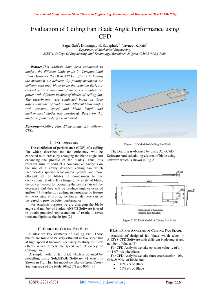 Evaluation of ceiling fan blade angle performance using cfd sagar sali aloadofball Choice Image