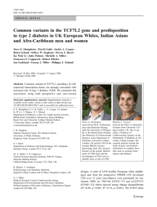 Common variants in the TCF7L2 gene and predisposition