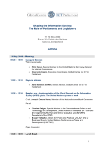 Shaping the Information Society: The Role of Parliaments and Legislators