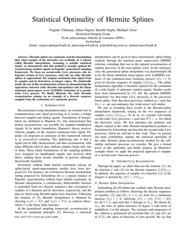Statistical Optimality of Hermite Splines