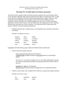 Revising: Five Trouble Spots in Pronoun Agreement