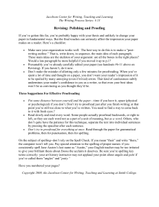 Revising: Polishing and Proofing