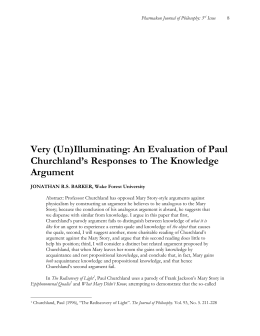 Very (Un)Illuminating: An Evaluation of Paul Churchland's Responses to The Knowledge Argument