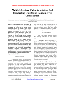 Multiple Lecture Video Annotation And Conducting Quiz Using Random Tree Classification