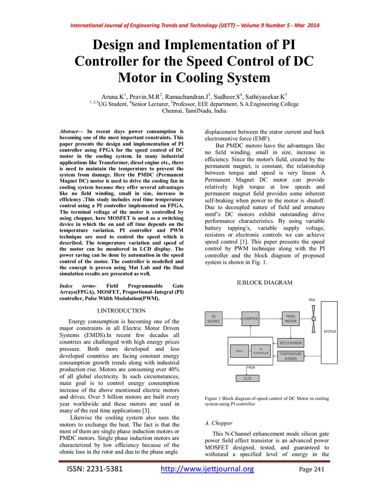 Design And Implementation Of Pi Motor In Cooling System Arunak P Controller Block Diagram