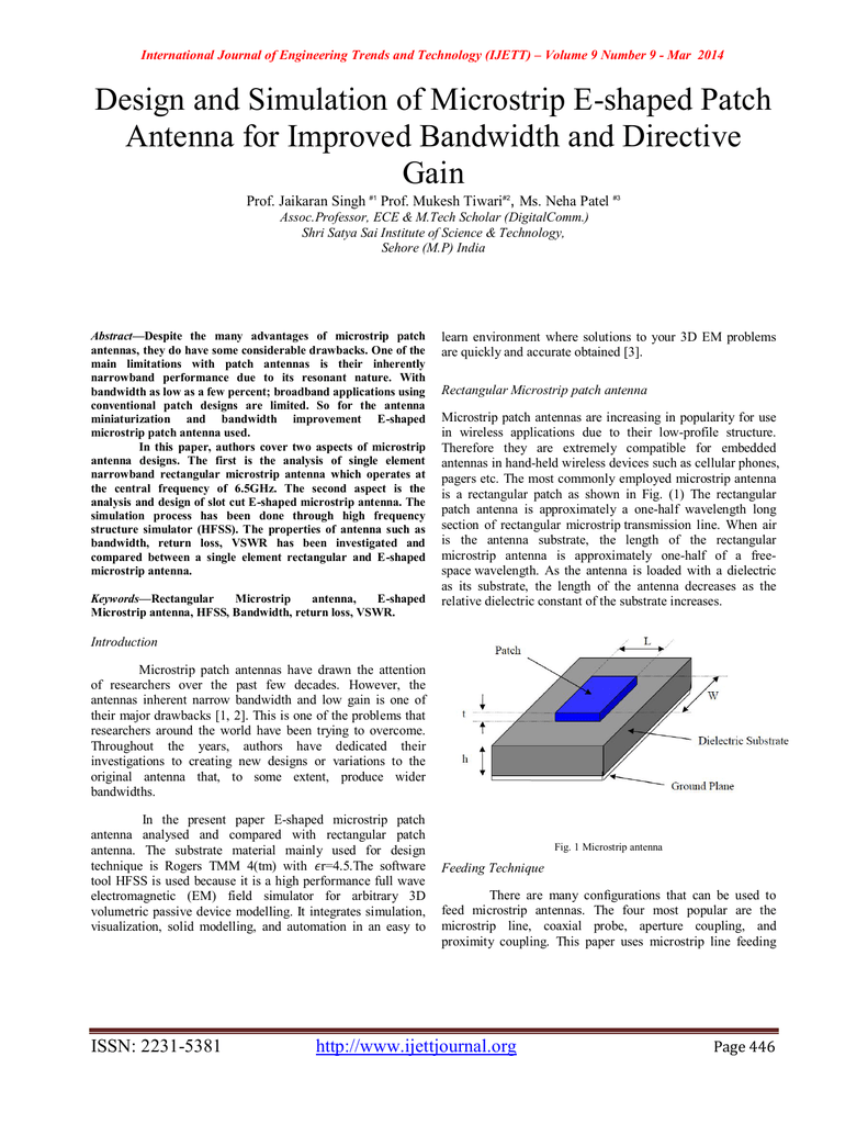 Design And Simulation Of Microstrip E Shaped Patch Gain