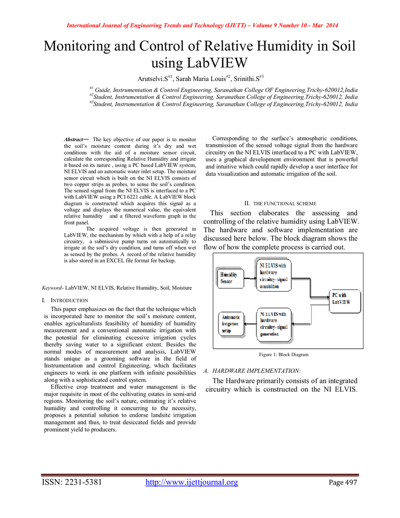Monitoring And Control Of Relative Humidity In Soil Using Labview Block Diagram Arutselvis