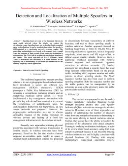 Detection and Localization of Multiple Spoofers in Wireless Networks  R. Ramakrishnan