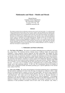 Mathematics and Music – Models and Morals