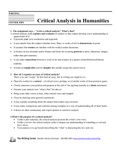 Critical Analysis in Humanities