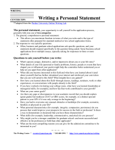 Writing a Personal Statement  The personal statement,