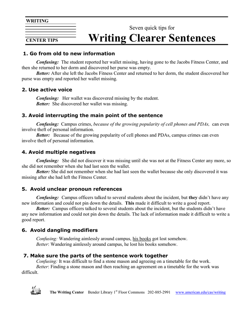 Writing Clearer Sentences Seven quick tips for