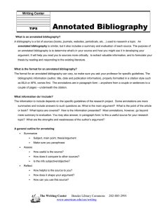 Annotated Bibliography  Writing Center TIPS