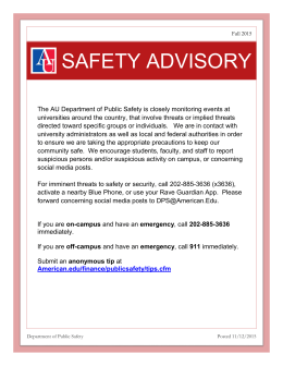 SAFETY ADVISORY