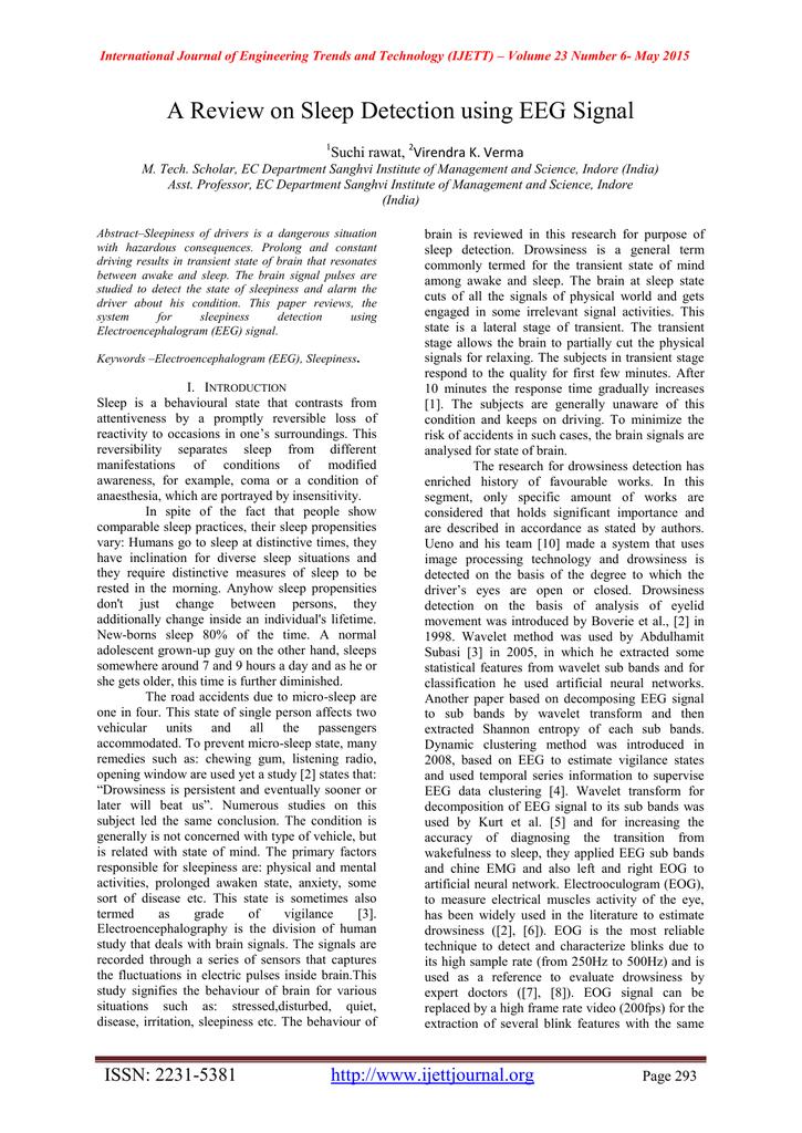 A Review on Sleep Detection using EEG Signal Virendra K  Verma