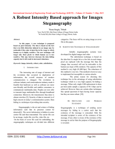 A Robust Intensity Based approach for Images Steganography Renu Singla,